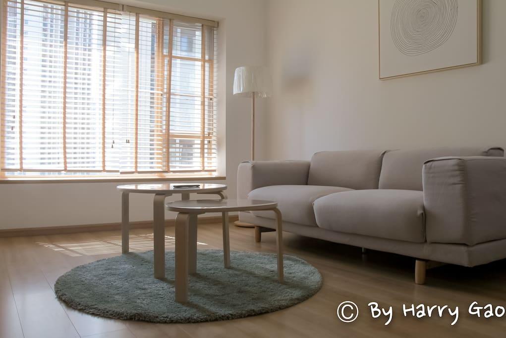 客厅中舒服的大沙发。living room