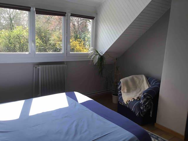 Chambre vue sur le jardin lit 160*190