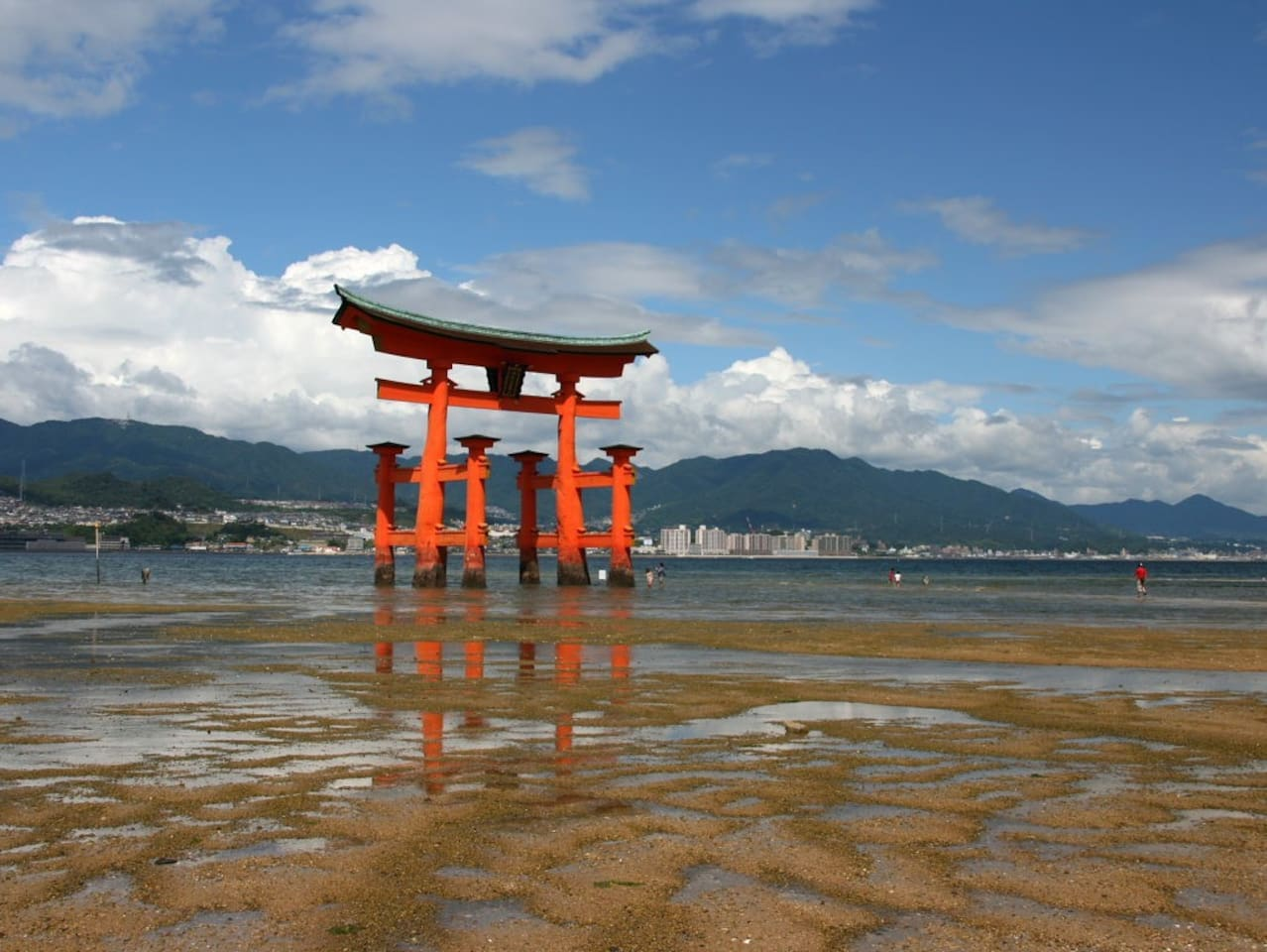 O-torii gate of Miyajima island  (1 station away from our nearest station)   Please note that the gate is covered for the moment because of the repair work.