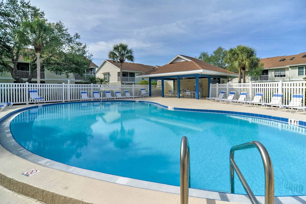 The lovely home provides access to the year-round heated community pool.
