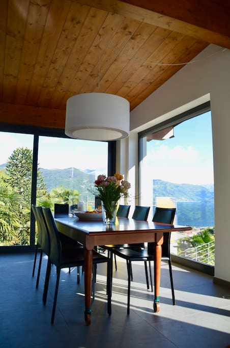 Large, comfortable dining area with beautiful views