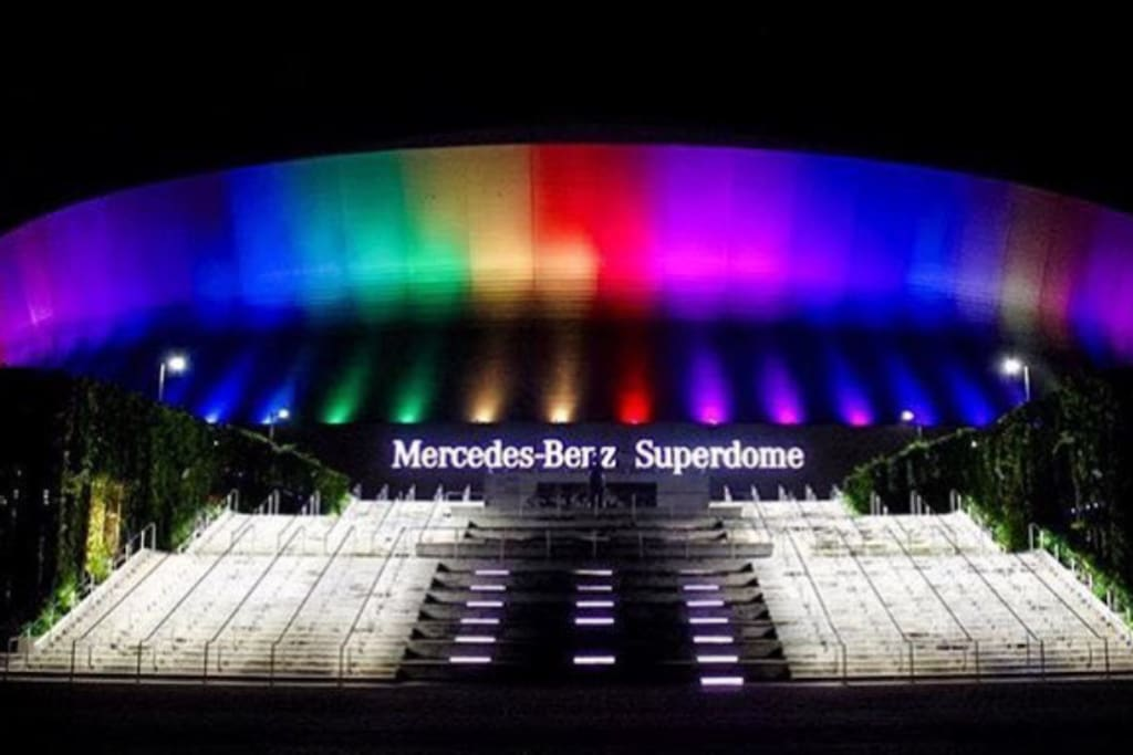 Only a few blocks away is where you can the Mercedes-Benz Superdome, home of the saints.