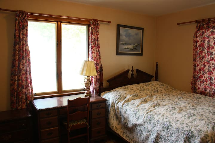 This bedroom has a full-sized bed and two windows.