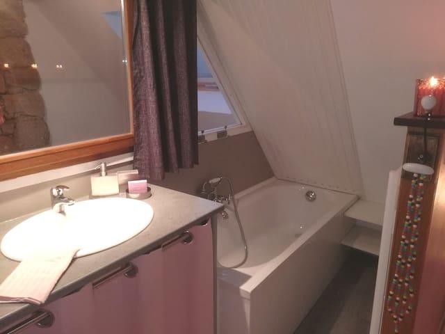 Baignoire, sèche serviette électrique, sèche cheveux fourni... Pour les WC, papier toilette fourni...