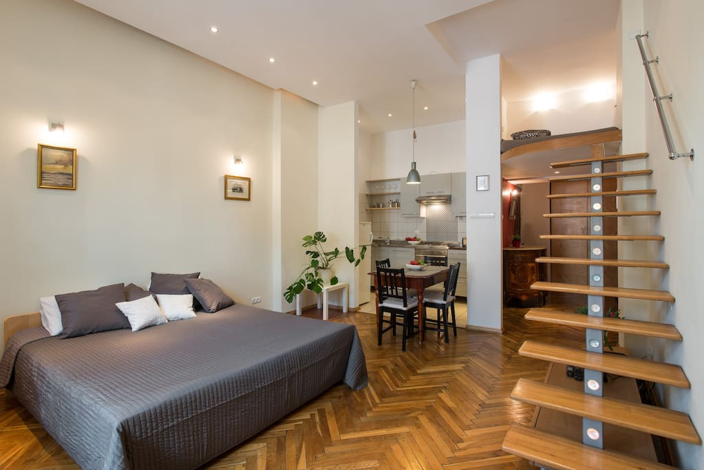 Our apartment is located in the very heart of Kazimierz - Jewish district. Just a minute walking from the Old Synagogue