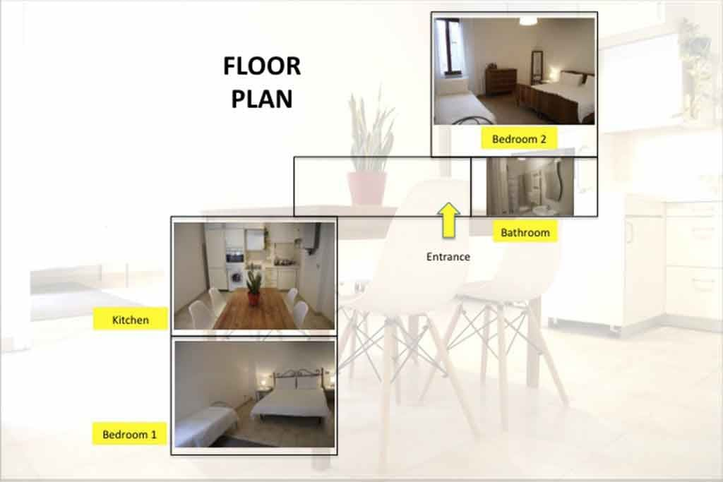 Apartement configuration: 2 large bedrooms/6 beds