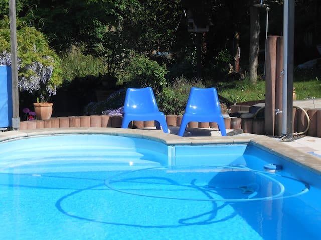 Pool im Garten, steht allen Gästen zur Verfügung