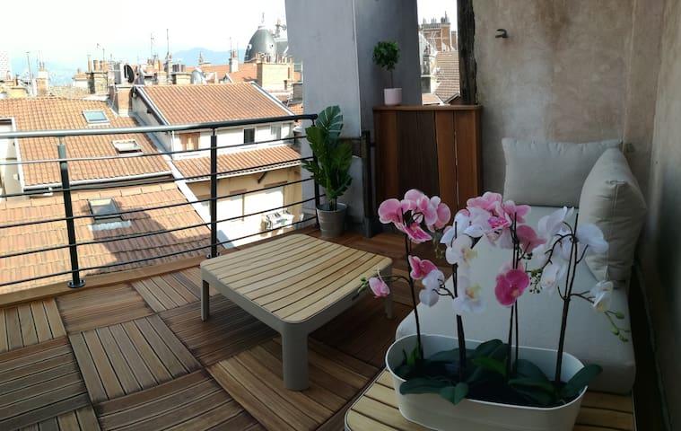Magnifique appt en duplex avec terrasse au centre!
