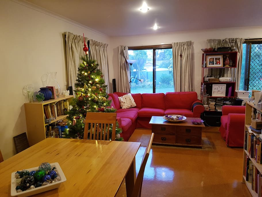 You can see how current this photo is by the Christmas tree.  This is my living/dining room.
