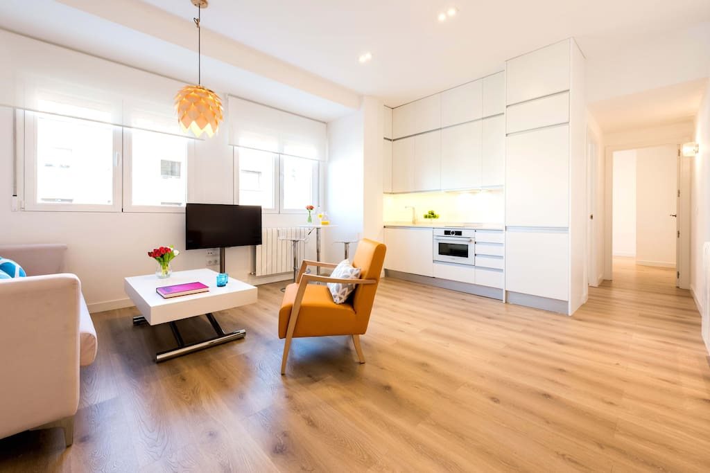 Living-Dining Room. White sofa table became a dinner table ready for 4, 6 or  8.