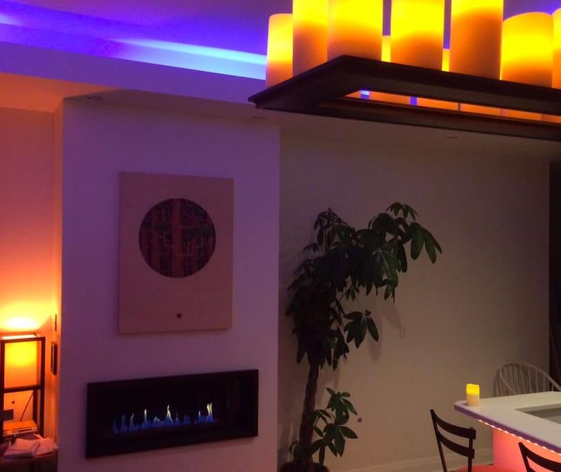 natural gas fireplace, nice lighting and mood