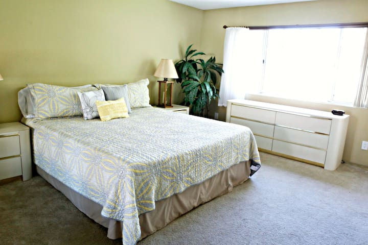 large master bedroom with King sized bed, new bedding, double closets