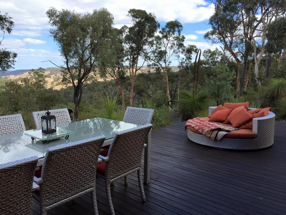The spacious deck overlooking the Valley