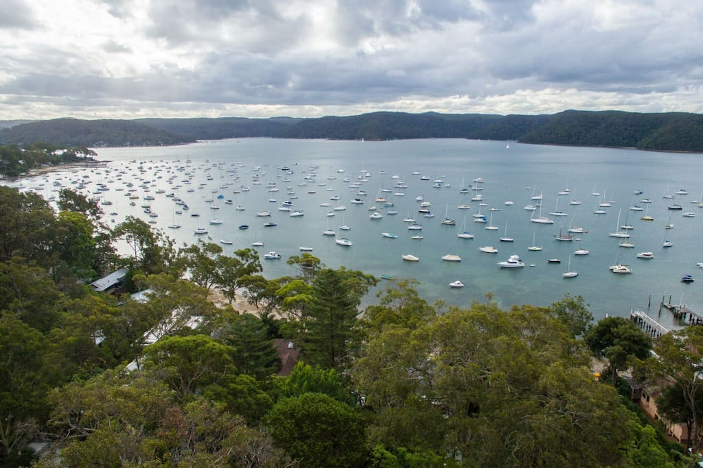 Aerial view of Clareville Pittwater, just 50m walk from the Cabin