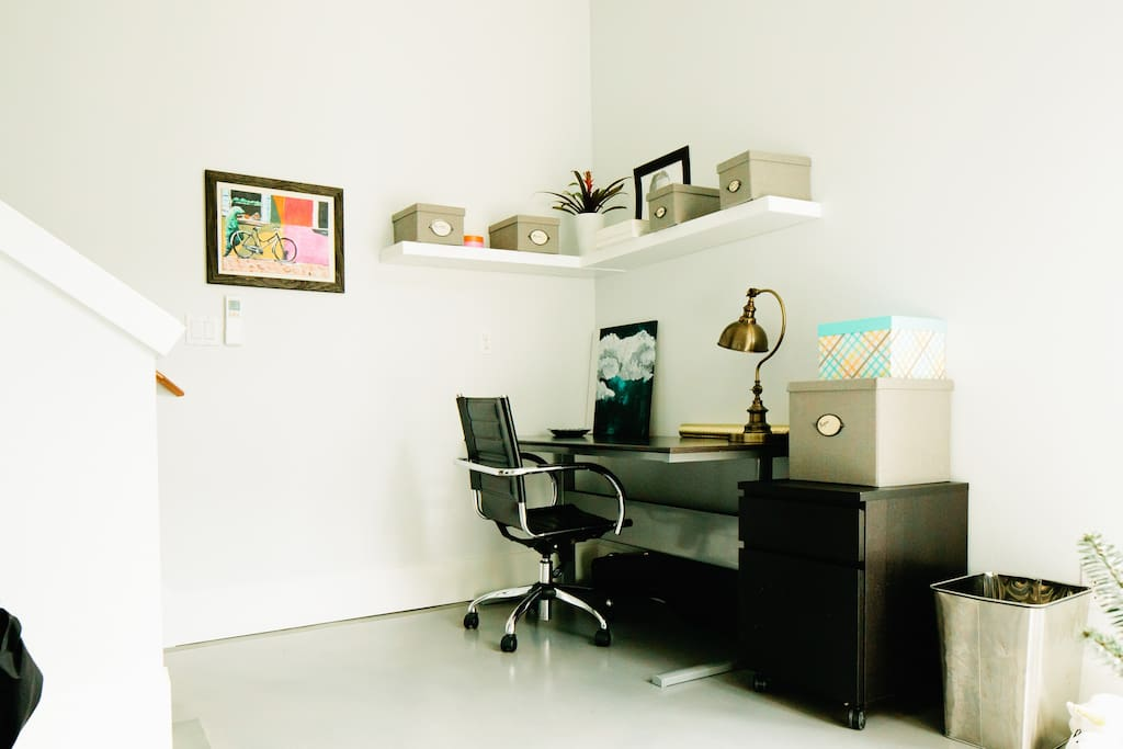 Your Private entrance opens to a lower-level studio and work space, includes a mini fridge
