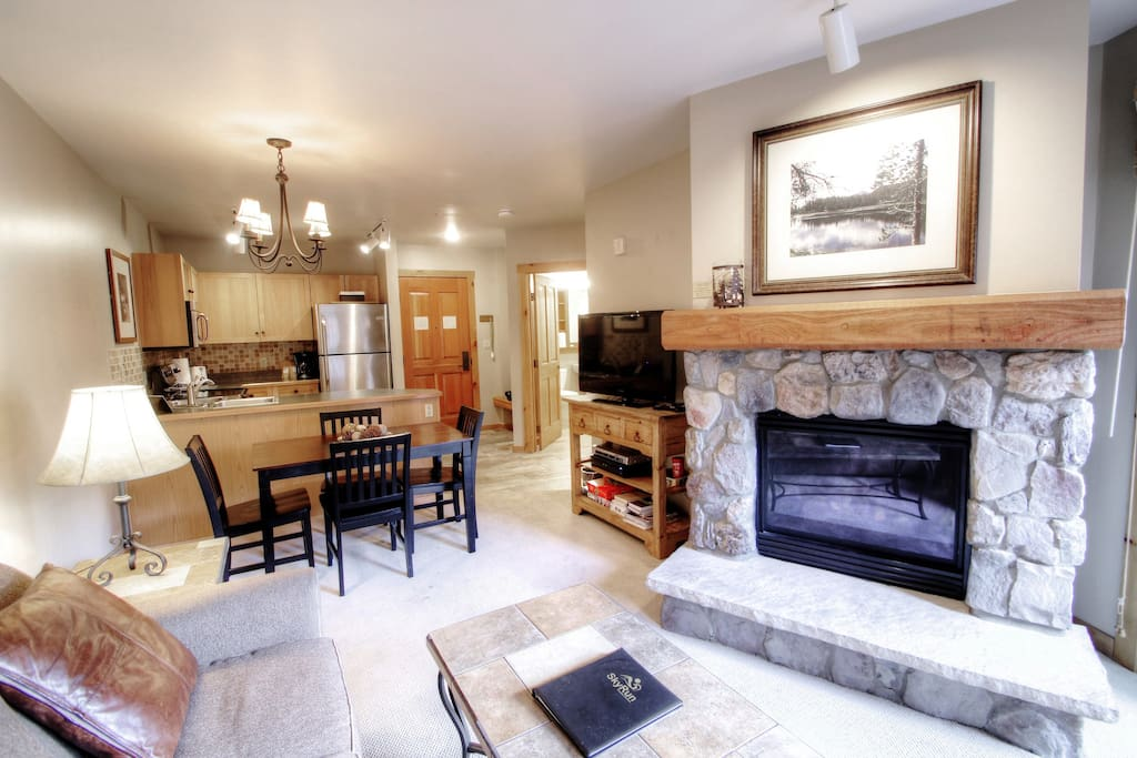 Living Room - Warm up next to the gas fireplace.