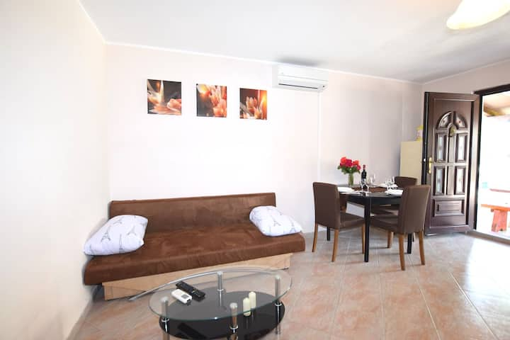 Lovable apartment, pool with deckchairs, fenced garden with grill, wifi and airco