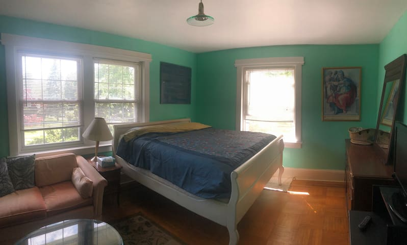Blue private bedroom in shared Yardley mansion