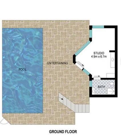 Floor plan~Parking,pool,deck &studio