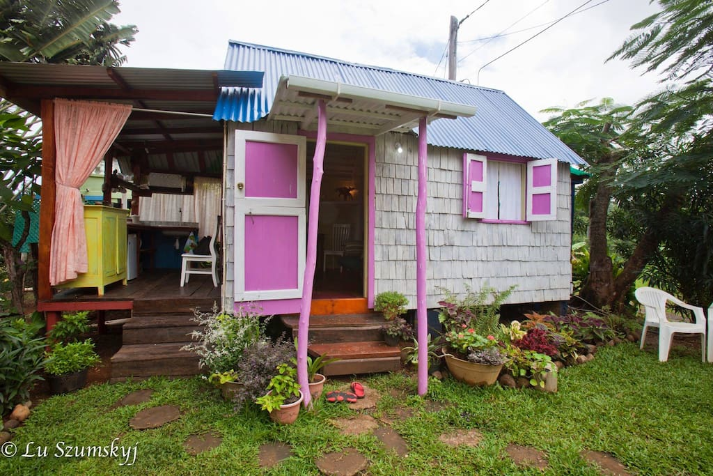 Restored historic Dominican wooden cottage