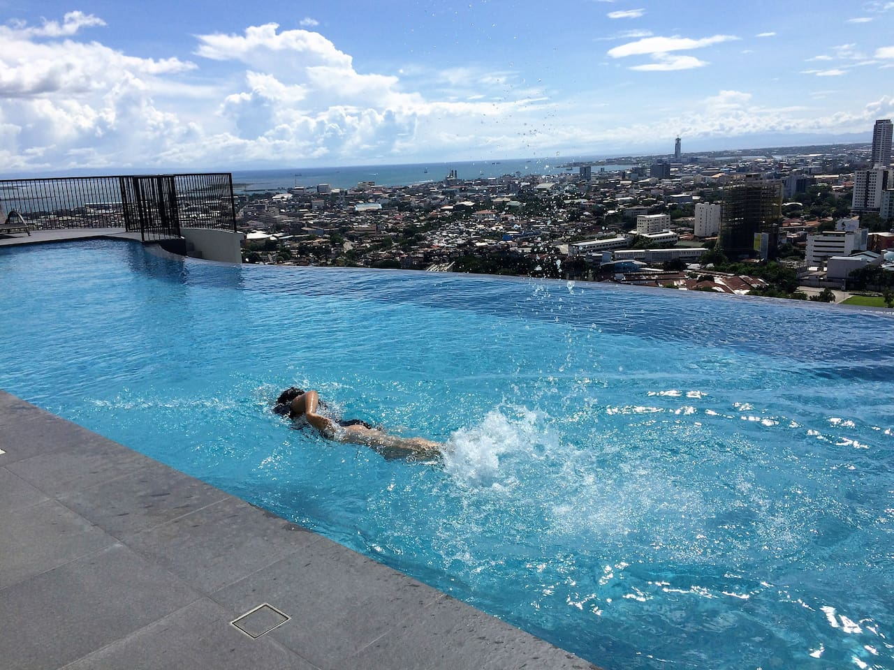 Relaxing and refreshing scenic view of the city, sun, sea and the hills.s