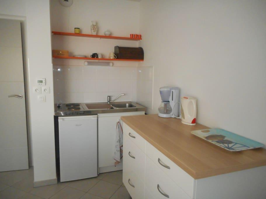 Réfrigérateur, plaques  électriques et mini four électrique