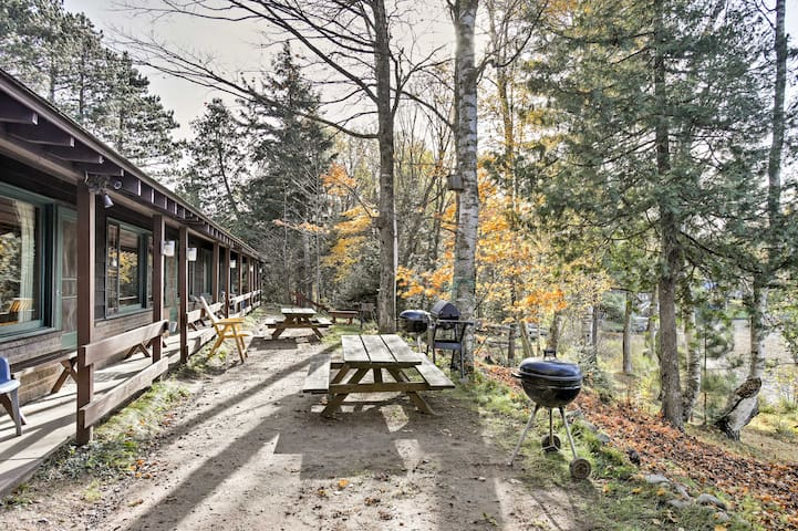 Right outside your front door are grills and picnic tables for a barbecue for two.