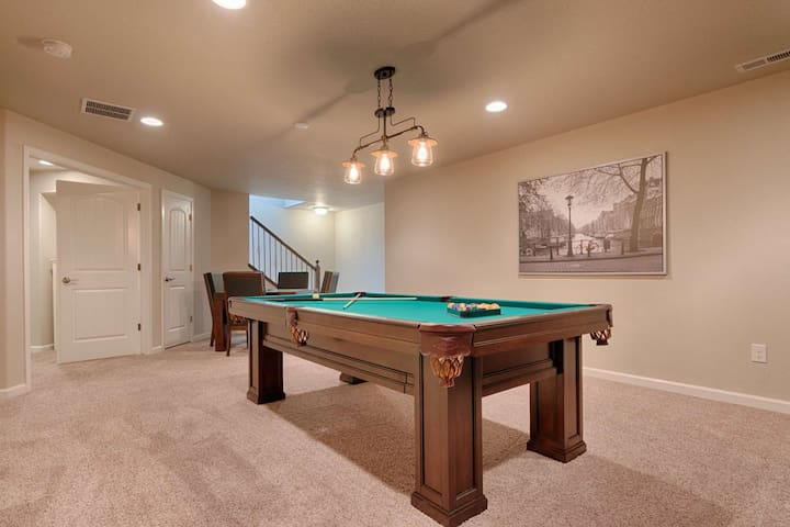 Pool table in lower level recreation room.