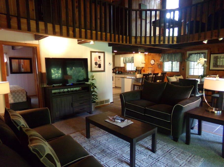 Open living area huge flat screen