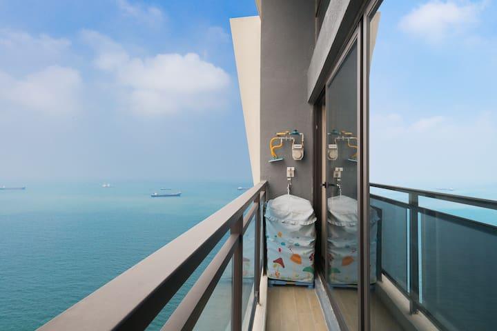 【超有气质的海景】全景落地窗俯瞰海景三居/近世纪花园拍照ins风/环境优美/夜景也超级美