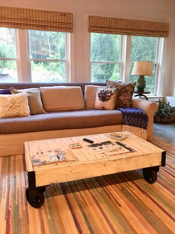 Living room is a design work in progress but not to worry the beloved restoration hardware sofa is still there!