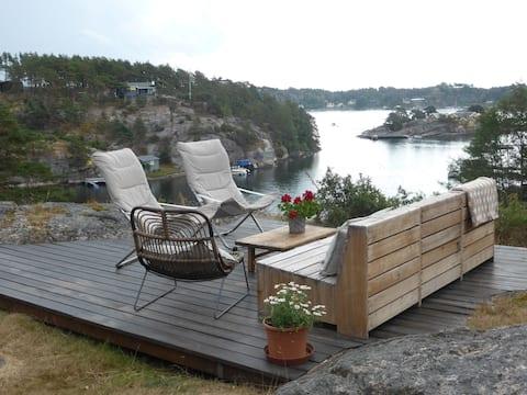 Oceanfront Cabin at wonderful Hankø