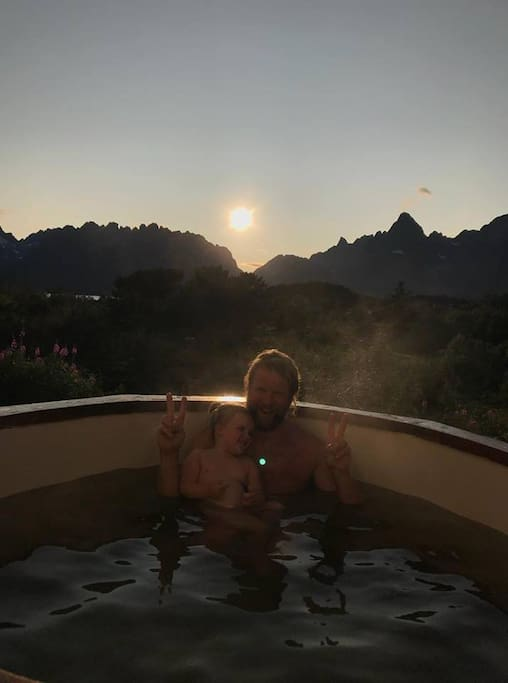 We have a outdoor hot tub with a view
