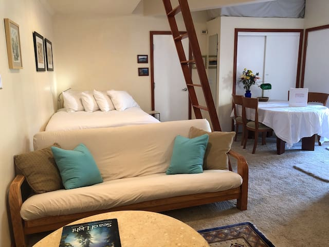 Queen Bed and Double Bed/Futon comfortably sleep 4 guests who prefer to not use ladder.