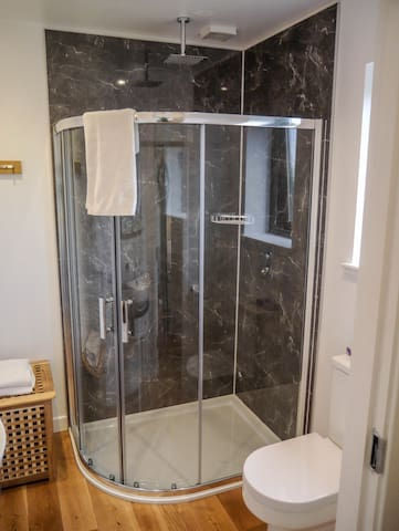 luxurious bathroom with large shower