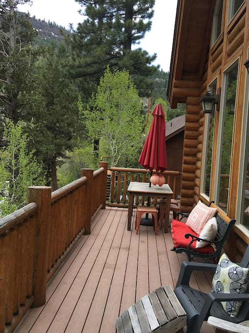 This deck overlooks the beautiful Carson River.