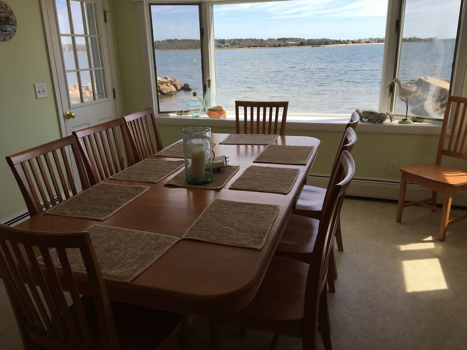 Family seating for 10 with beach and water views