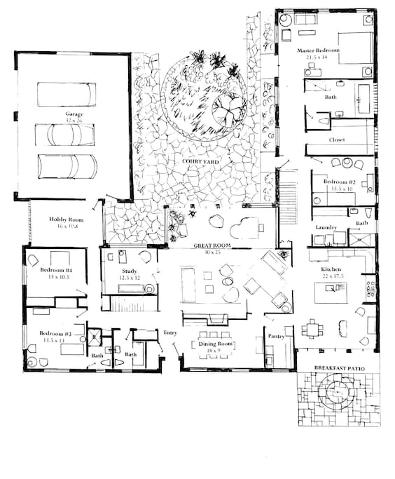 Main Floor plan. Study = bedroom now. Hobby room is an art studio / business center. Home is ~3800sqt plus 2k in the basements = 5800sqft.
