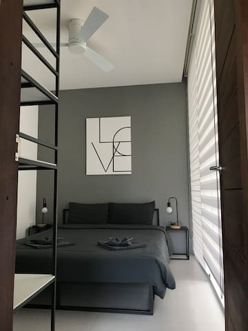 second bedroom with modern minimalist open design shelving with aircondition+ceiling fan remote controlled