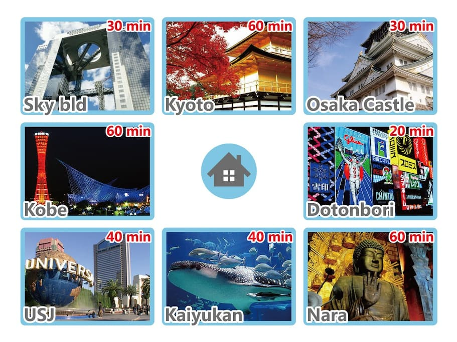 Easy to get to Osaka, Kyoto and Nara's main attractions!