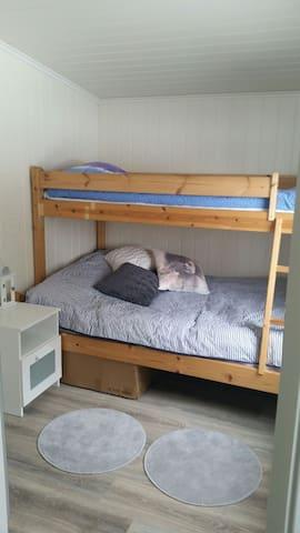 Sleepingroom 2: Bed up 80 × 200, down 120 × 200.  Vi called it in Norway to familie (bunk)  bed