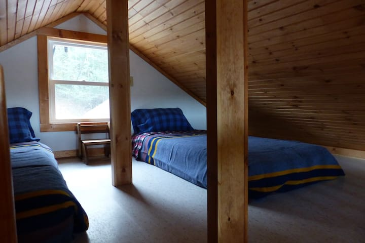 The sleeping loft has these two twin beds pictured here plus 2 thick mats.