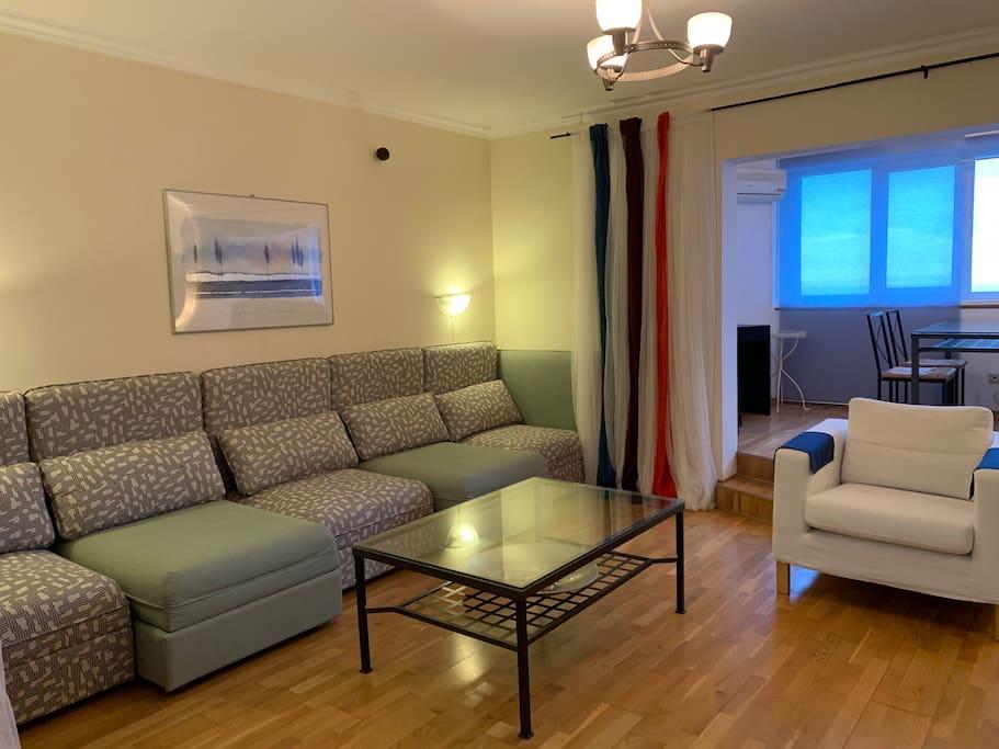 """гостиная с ТВ 50"""" и двумя дополнительными спальными местами"""