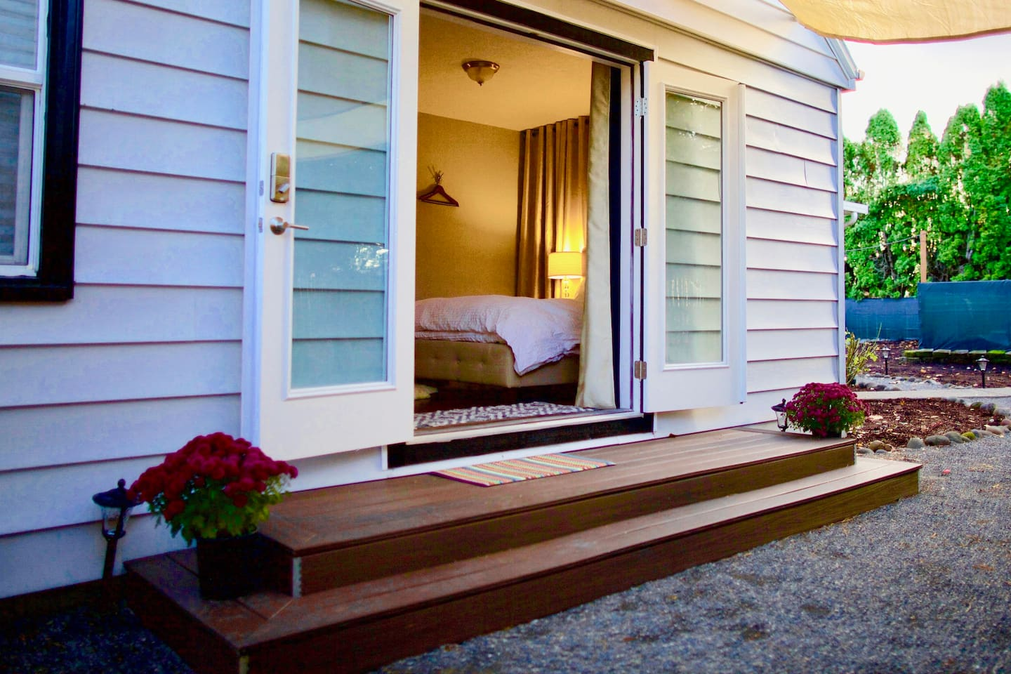 French doors at the entrance to the studio suite.