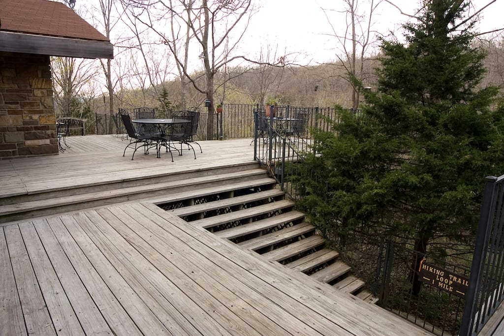 Deck overlooking the waterfall