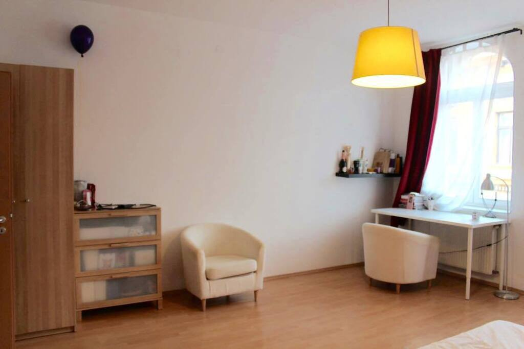 bedroom | wardrobe, chair, desk