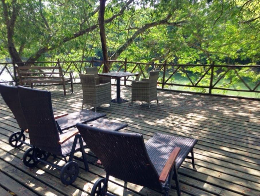 Relax to the sounds of nature on our riverside deck