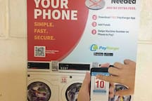 No coins required! Use the app and pay with your smart phone. Laundromat conveniently located on the bottom floor of the building.