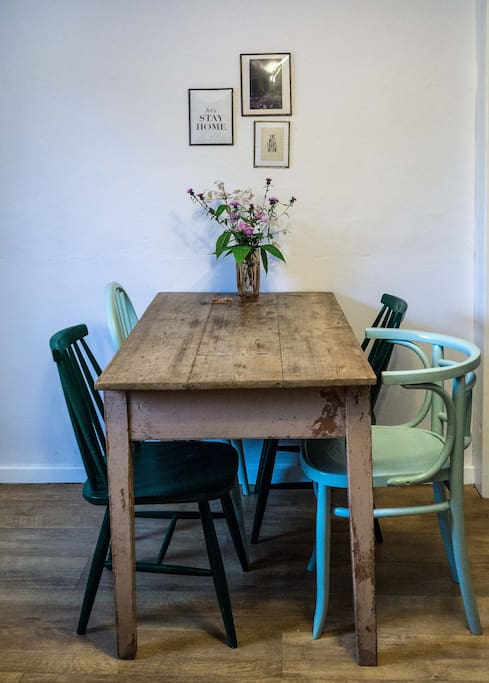 Antique table and funky chairs