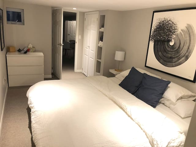 With a full closet, dresser, and built-in shelves, the bedroom has ample space for a short or long-term stay.
